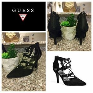 Guess Black Suede Pointed Toe Lace Up Heels